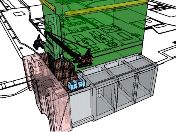掘削床付け地盤より下端部約5mを盤ぶくれ対策として、薬液注入工(NEWスリーブ工法)で地盤改良します。