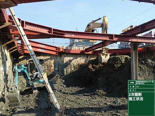 2次掘削作業中です。掘削エリア内に小さいバックホウを入れ、土砂を集めて大きいバックホウで搬出します。
