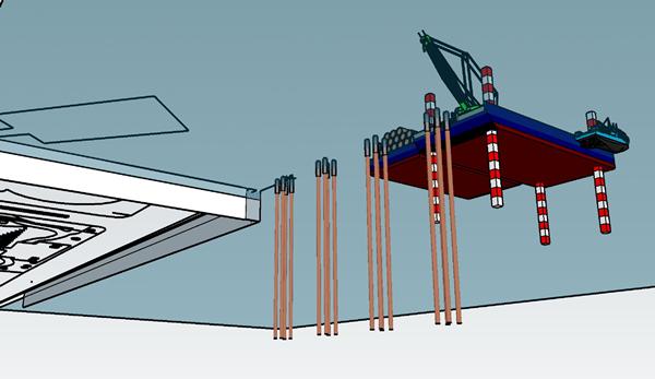 鋼管杭打設イメージ図
